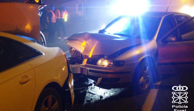 Foto de los vehículos implicados en el accidente en Zizur.