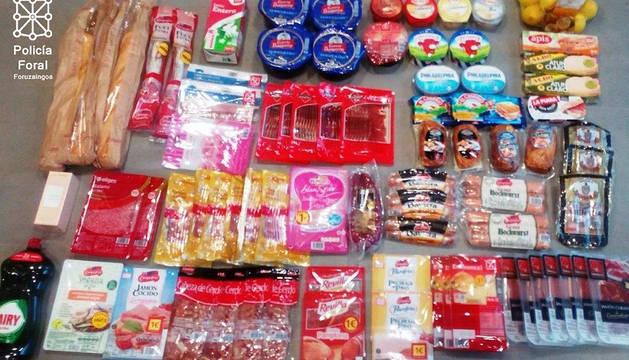 Parte de los productos sustraídos y recuperados en Ayegui.