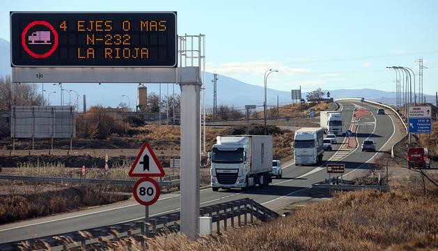 Desvío de camiones en Tudela.