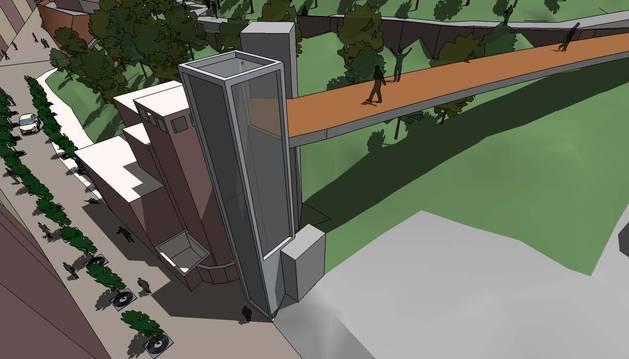 Imagen virtual del futuro ascensor que se instalará en Tudela.