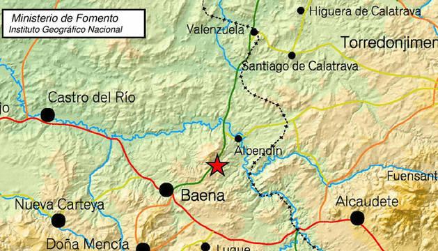 Imagen del epicentro en el terremoto de Baena.