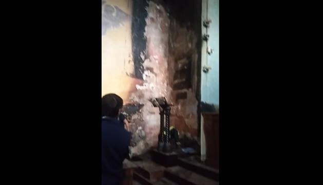 Incendio en la iglesia de Areso