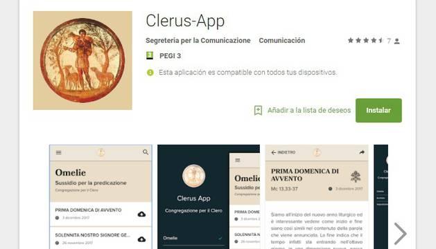 'ClerusApp' en el Play Store de Google