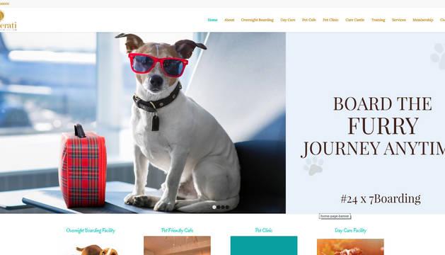 Captura de la web del hotel para perros Critterati, ubicado en Gurgaon (India).