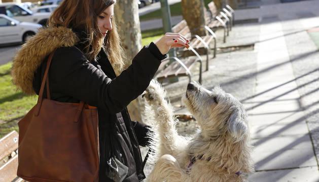 Iranzu Chivite dando una golosina a su perro Sol en un parque de Pamplona.