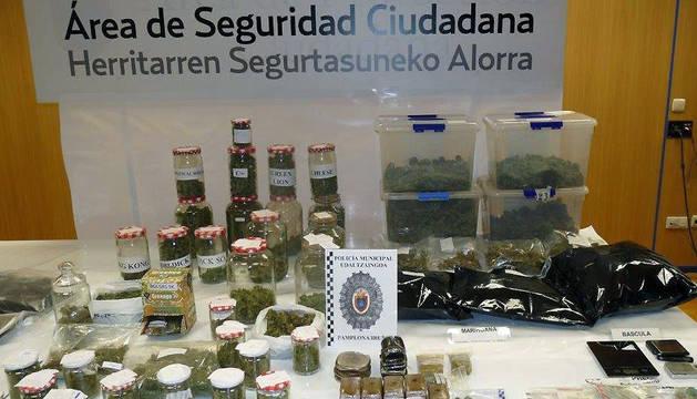 Droga incautada por la Policía Municipal de Pamplona.