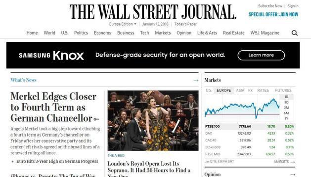 La portada de la edición europea del Wall Street Journal con el reportaje sobre Puértolas.