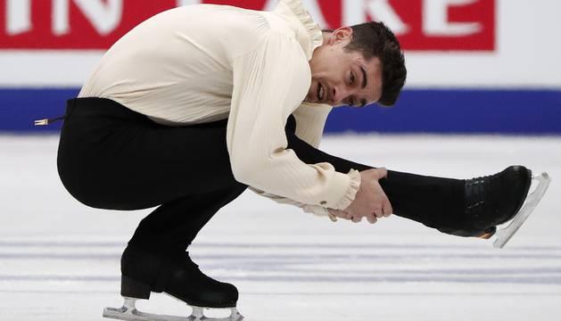 foto de Javier Férnandez, durante su programa largo en el Campeonato de Europa de patinaje artístico celebrado en Moscú.