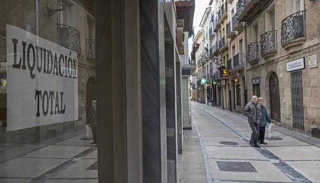 Vista de la calle Mayor de Estella, que se verá afectada este año por una serie de cierres en cadena.