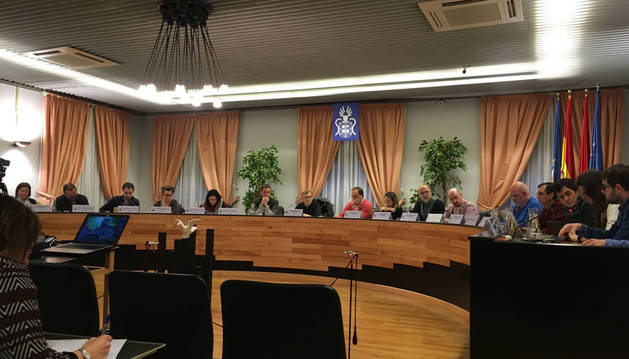 Imagen de un momento del pleno de este jueves, presidido por López Zubicaray (EH Bildu) ante la baja por enfermedad de la alcaldesa, Oihaneder Indakoetxea.