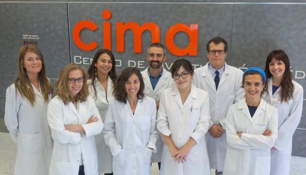 Gloria Álvarez, Leticia Colyn, Marina Bárcena, Raquel Urtasun, Iker Uriarte, Maite García, Matías Ávila, Carmen Berasain y Laura Álvarez, del Programa de Hepatología del CIMA.