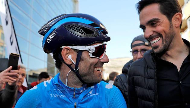 Alejandro Valverde, junto a Alberto Contador.