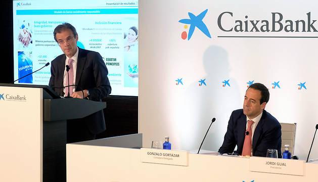 El presidente de Caixabank, Jordi Gual, durante la presentación de resultados de la entidad.
