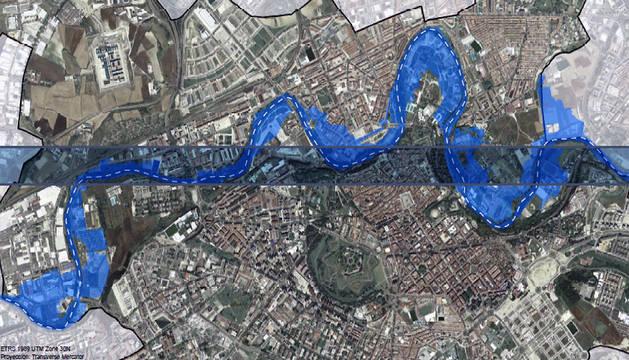 Mapa de las zonas inundables de Pamplona.