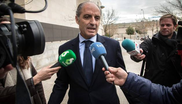 El expresidente de la Generalitat, Francisco Camps, a su llegada a la Ciudad de la Justicia