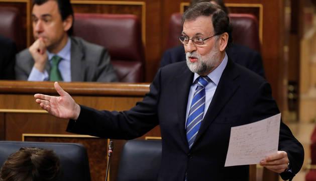 Rajoy, durante la sesión de control en el Congreso.