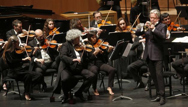 Hakan Hardenberger, en el concierto del Baluarte con la Orquesta Sinfónica de Euskadi.