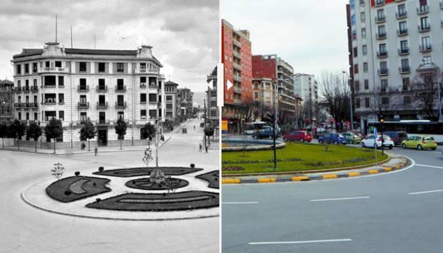 Foto de la plaza Príncipe de Viana en 1940 y en la actualidad.