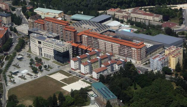 Vista aérea del Palacio de Justicia de Navarra.