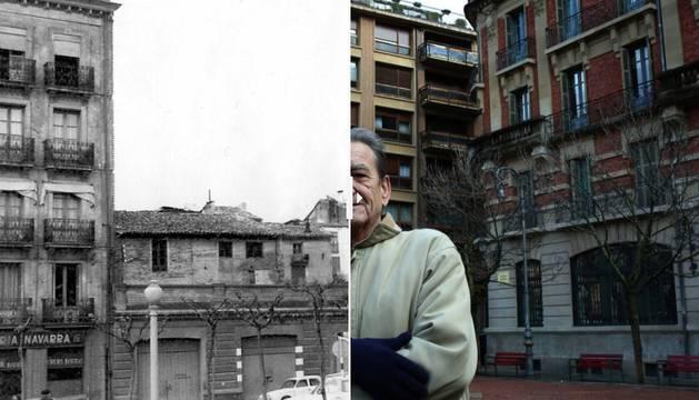 La calle Ansoleaga de Pamplona en 1962 y en la actualidad.