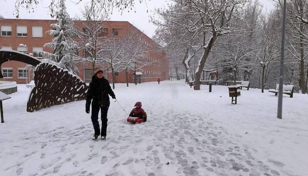 Tierra Estella suspende clases y autobuses por el temporal de nieve