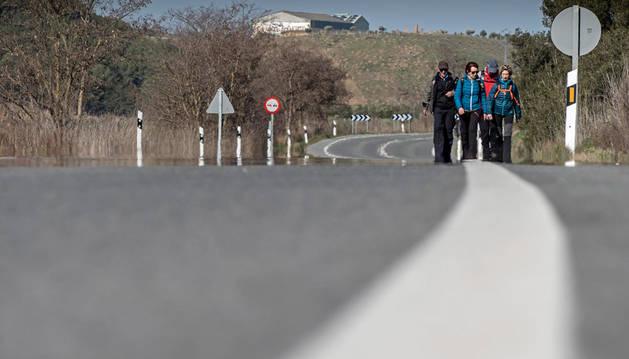 Imagen de los caminantes de Muniáin de la Solana, una vez pasado Larraga, siguen su camino a pie por la carretera.