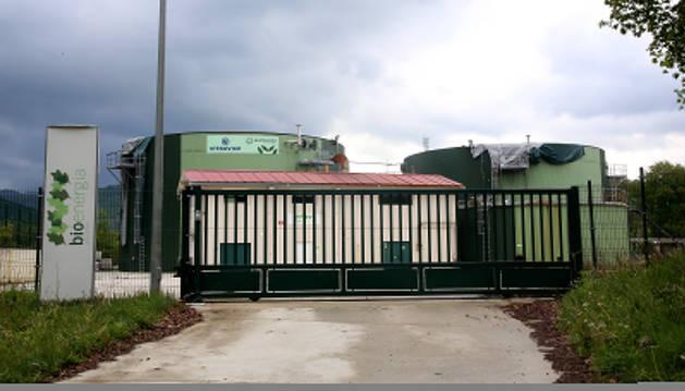Detalle de la clausurada planta de biogás de Ultzama.