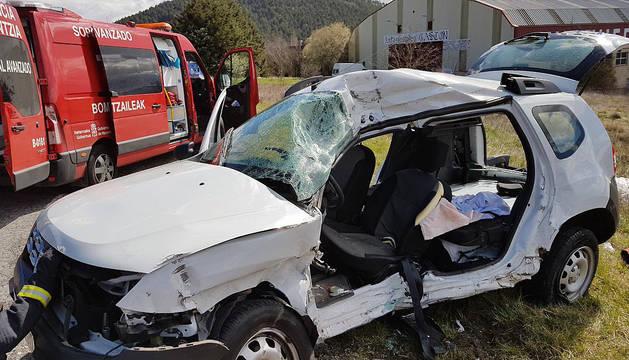 Estado en el que ha quedado el vehículo en el que viajaba el herido.