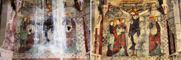 A la izquierda de la imagen, estado en el que se encontraban las pinturas del ábside de San Zoilo de Cáseda antes de la restauración. A la derecha, su estado actual.