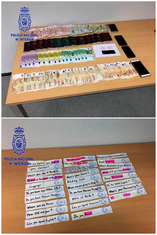 Fotografías facilitada por la Policía Nacional, cuerpo que ha detenido a 155 personas y desmantelado una red internacional de tráfico ilegal de ciudadanos chinos.