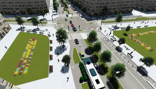 En la imagen, recreación virtual de un tramo de Pío XII, en el que se aprecian los dos carriles para el tráfico rodado, la zona multifuncional y el carril bici.
