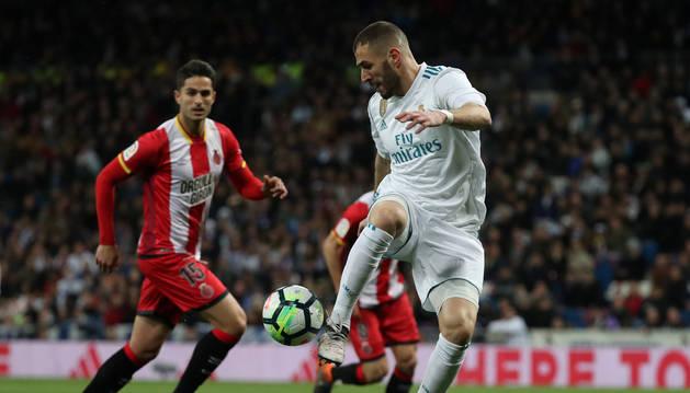Karim Benzema, en el partido Real Madrid - Girona.