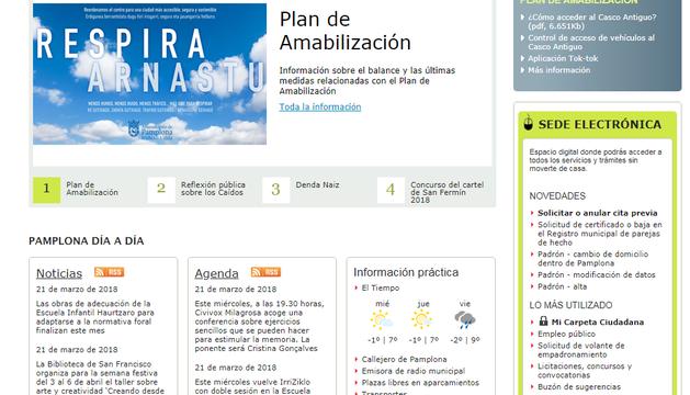 Web actual del Ayuntamiento de Pamplona