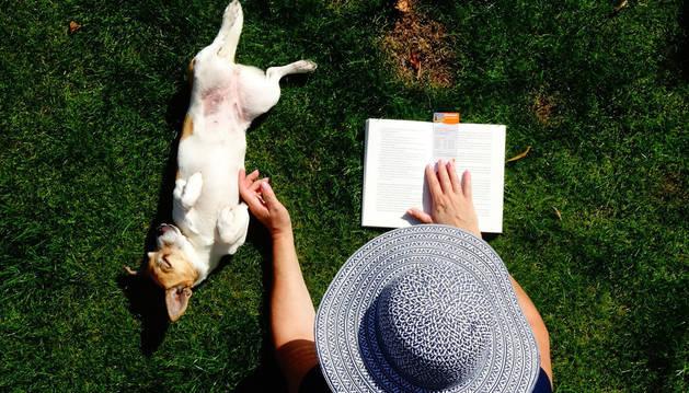 En la imagen, una mujer lee un libro junto a un perro.