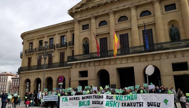 Concentración de los interinos docentes frente al Palacio de Navarra.