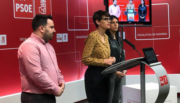 Carlos Mena, María Chivite y Adriana Maldonado, este martes durante la rueda de prensa sobre el retorno del talento.
