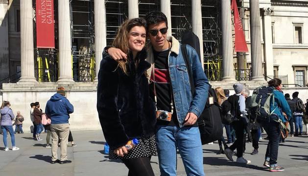 Amaia Romero y Alfred García, este jueves en el exterior de la National Gallery de Londres.