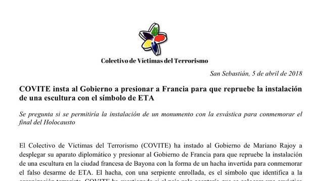 Víctimas del terrorismo critican el monolito que recuerda el desarme en Bayona