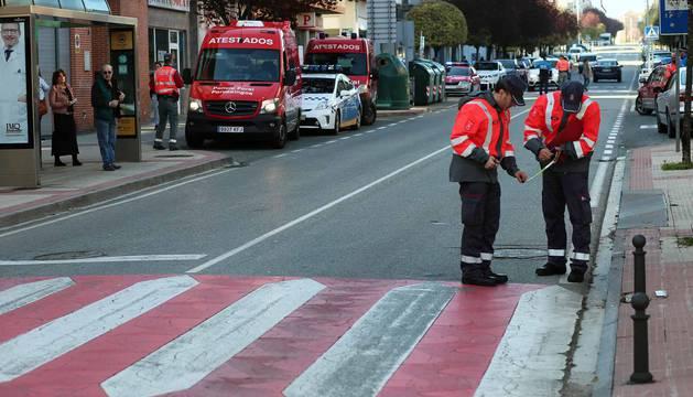 Imagen de agentes de la Policía Foral en el lugar del accidente.
