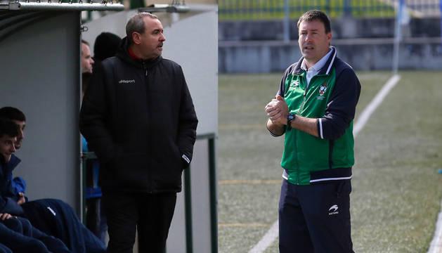 Unai Jáuregui (izquerda), entrenador del Pamplona, y César Sánchez, técnico del Subiza (derecha).