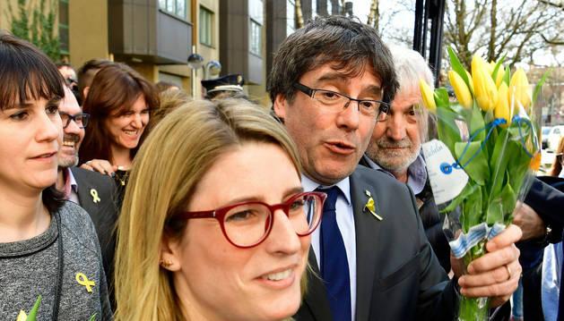 foto de Carles Puigdemont en Berlín, después de ser rechazada su extradición a España.