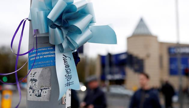 Mensaje de apoyo para el bebé Alfie Evans en el exterior del estadio de Liverpool Goodison Park.