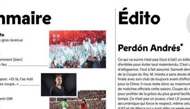Editorial de la revista France Football.