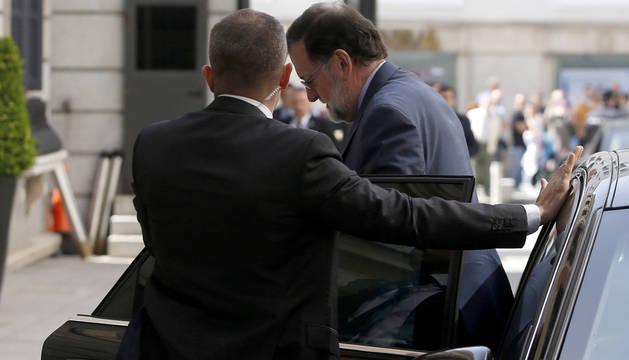 El presidente del Gobierno, Mariano Rajoy, este miércoles a su llegada al Congreso de los Diputados.