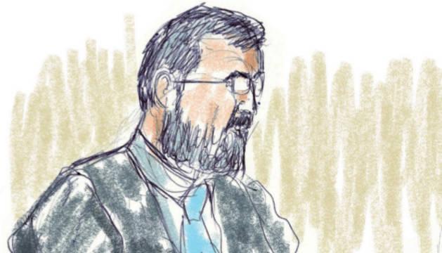 Retrato con un trazo rápido sobre el magistrado durante la última sesión del juicio.