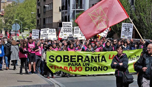 Manifestación de LAB en Pamplona.