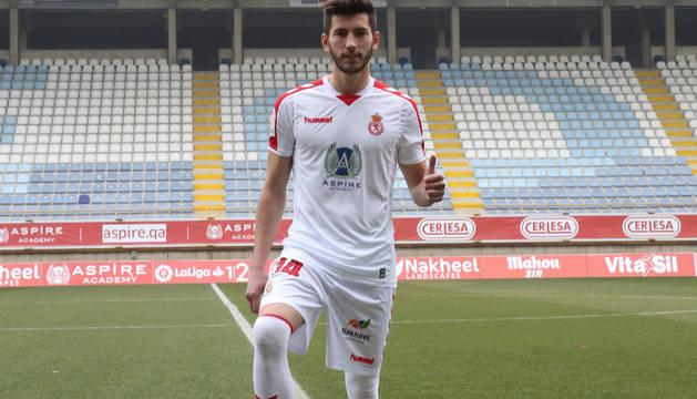 David García, el pasado 22 de enero en su presentación como nuevo jugador de la Cultural Leonesa, cedido hasta final de temporada.