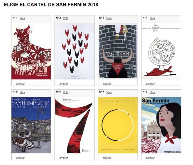 foto de Página web de la votación popular de los carteles de San Fermín 2018.