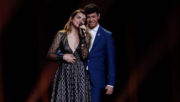 foto de Amaia y Alfred, durante el segundo ensayo del Festival de Eurovisión 2018 de Lisboa.