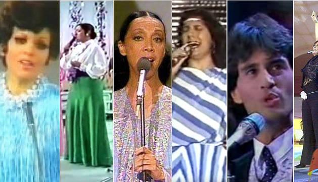 Imagen de diez actuaciones de España en Eurovisión.